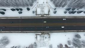 Aerial: Traffic on the bridge. Of Kaliningrad in winter stock video footage