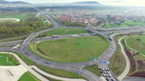 Aerial: Traffic Scene In Roundabout stock footage