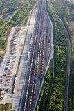 Aerial train yard Royalty Free Stock Photography