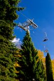 Aerial tram, cable car in park in autumn Royalty Free Stock Photo