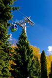 Aerial tram, cable car in park in autumn Royalty Free Stock Photos