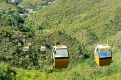 Aerial tramway. Big passenger ropeway over chasm Stock Photo