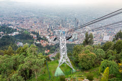 Aerial Tramway and Bogota, Colombia. Aerial tramway leading up to Monserrate Mountain with Bogota, Colombia in the background stock image