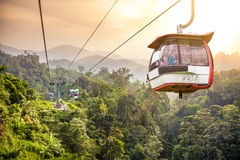 Free Aerial Tramway Moving Up In Tropical Jungle Mountains Stock Photos - 38766623