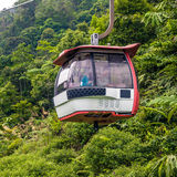Aerial tramway moving up in tropical jungle mountains Royalty Free Stock Photography