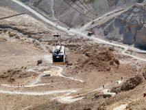 Aerial tramway to Masada Royalty Free Stock Images