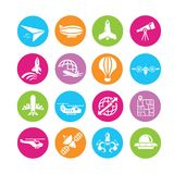 Aerial transport icons. Aerial transport and plane icons in colorful round buttons Stock Photo
