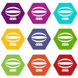 Aerial transportation icon set color hexahedron Royalty Free Stock Image