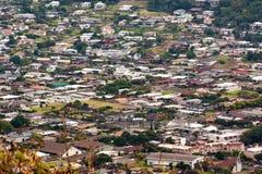 Aerial of tropical neighborhood Stock Images