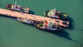 Aerial of tug boats South Africa Royalty Free Stock Photos