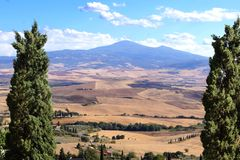 Aerial Tuscan landscape view. Classic Tuscan landscape view during summer from Pienza, Italy Stock Photo