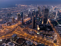 Aerial twilight view of downtown Dubai from Burj Khalifa Stock Photo