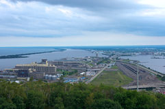Aerial of Twin Ports in Duluth Superior Royalty Free Stock Photo