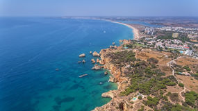 Aerial. Type of coastal spit and beaches of Alvor Tres Irmaos. Portimao stock images