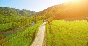 Aerial UHD 4K view. Low air flight over mountain rural dirt road and meadow at sunny summer morning. stock video