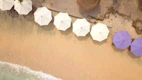 Aerial: Umbrellas and Lounge Beds at Sandy Beach on Paradise Tropical Island. Nusa Penida, Indonesia. 4K Seaside Top. View Background stock video