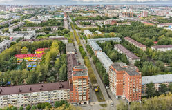 Aerial urbam view on Rizhskaya street. Tyumen Stock Image