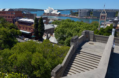 Aerial urban landscape view of Sydney Circular Quay and Cove sky Royalty Free Stock Photo