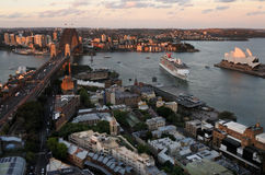 Aerial urban landscape view of Sydney Harbour Sydney New South W Stock Photo