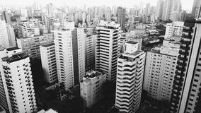 Aerial urban skyline in black and white Stock Image