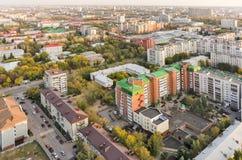 Aerial urban view on Holodilnaya street. Tyumen. Tyumen, Russia - September 15, 2015: Aerial view on sleeping neighborhood, school number 37 and orphanage number Royalty Free Stock Image