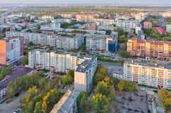 Aerial urban view on 50 let Oktyabrya street. Tyumen. Tyumen, Russia - September 15, 2015: Aerial view on sleeping neighborhood on 50 let Oktyabrya street Royalty Free Stock Image