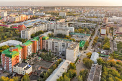Aerial urban view on Melnichnaya street. Tyumen. Tyumen, Russia - September 15, 2015: Aerial view on sleeping neighborhood on Melnichnaya street Stock Photography