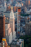 Aerial urban view of Midtown East, Manhattan, New. Sunset over Midtown East and Madison Square Park, New York City. Skyscrapers and highrises shape Manhattans Stock Images