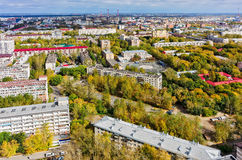 Aerial urban view onto autumn city. Tyumen. Russia Stock Photography
