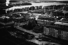 Aerial urban waterfront in black and white Royalty Free Stock Images