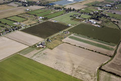 Aerial Vancouver - Richmond fields and farms. Hot Houses, fields and farms in Richmond Stock Images