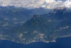 Aerial of Varenna village on Como lake, Italy Royalty Free Stock Photos