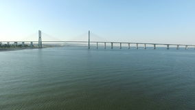 Aerial from the Vasco da Gama bridge in Lisbon Portugal. Aerial from the Vasco da Gama bridge in Lisbon in Portugal stock video footage