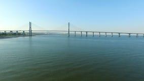Aerial from the Vasco da Gama Bridge in Lisbon Portugal stock video
