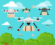 Aerial vehicle quadrocopter. Air drone hovering. Drone sketch Stock Images