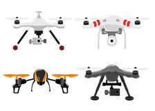 Aerial vehicle quadrocopter. Air drone hovering. Drone sketch Stock Photos