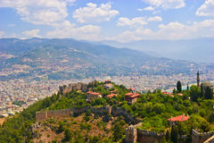 Aerial Veiw on Alanya. Aerial view on Alanya fortress taken on bright sunny afternoon stock photos