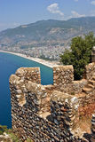 Aerial Veiw on Alanya. Aerial view on Alanya fortress amd Cleopatra beach taken on bright sunny afternoon stock photos