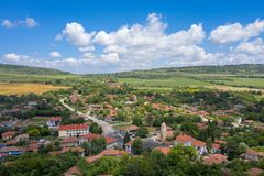 Aerial veiw of Bulgarian village centre and surrounding countryside stock photos
