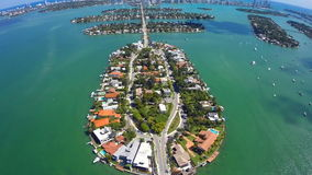 Aerial Venetian Islands Miami Beach stock footage
