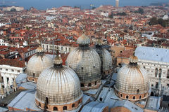 Aerial Venice. From the Campanile Tower, you can see over the domes and rooftops of the entire city of Venice, Italy Royalty Free Stock Photos