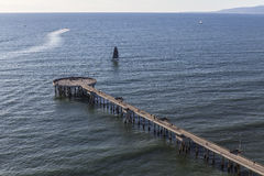 Aerial of Venice Pier in Los Angeles California Royalty Free Stock Photo