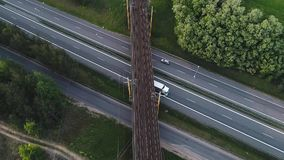 Aerial Vertical Drone Of Bridge Traffic Railway Intersection stock footage