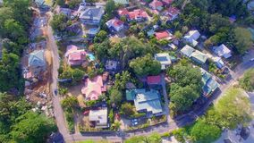 Aerial Vertical Panorama Of Houses On A Mountain, Beau Vallon Beach, Seychelles. Drone Shot Panorama Of Houses On A Mountain, Beau Vallon Beach, Mahe Island stock video footage