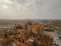 Aerial vew of historic city center in Porto, Portugal royalty free stock images