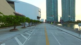 Aerial video American Airlines Arena flyby stock video
