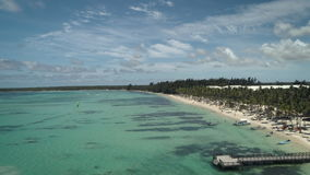 Aerial video of Bavaro Beach resort in Punta Cana. Summer vacation and water sports.  stock video