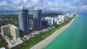 Aerial video Blue and Green Diamond Miami Beach stock video footage