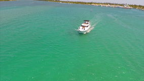 Aerial video of a boat in Miami stock video