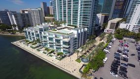 Aerial video of Brickell Miami condominiums stock video